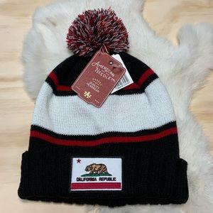 UNISEX California Republic Pom Beanie Striped Hat